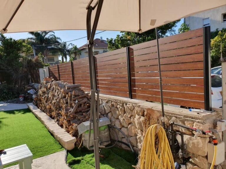 גדר לגינה מאלומיניום דמוי עץ