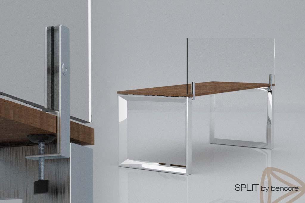 שולחן עם מחיצה שקופה