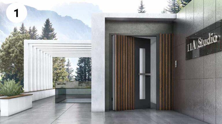 דלתות כניסה ציר מסתובב 360 מעלות
