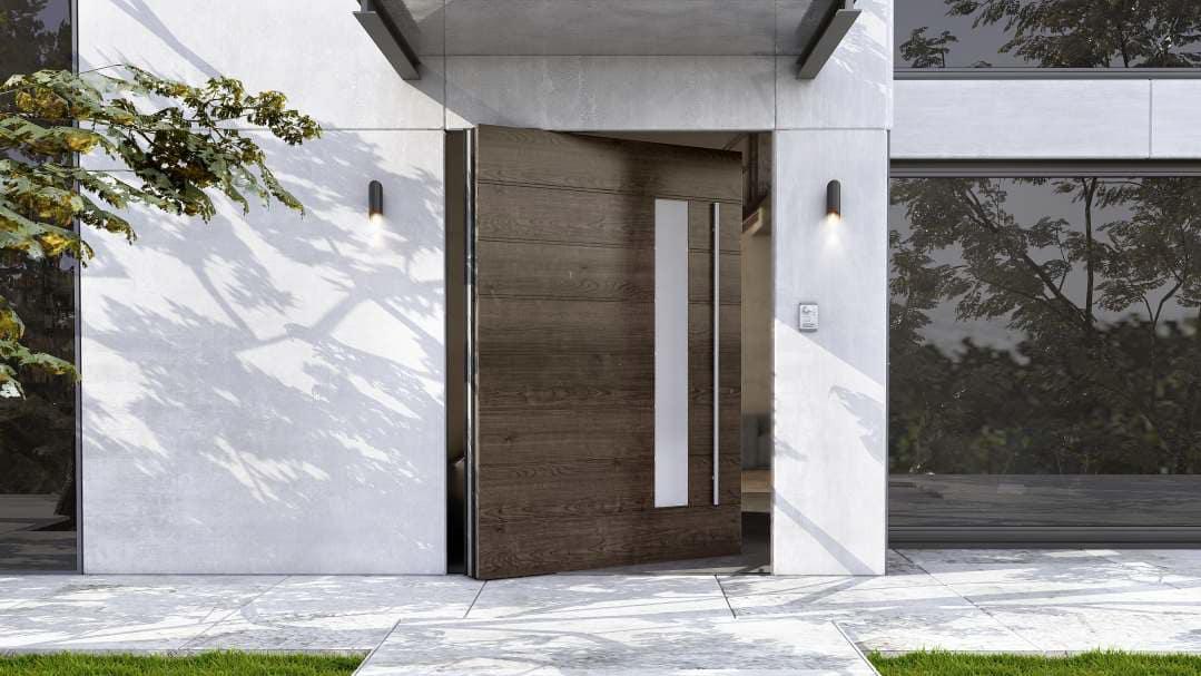 דלת כניסה שחורה בציפוי מבריק
