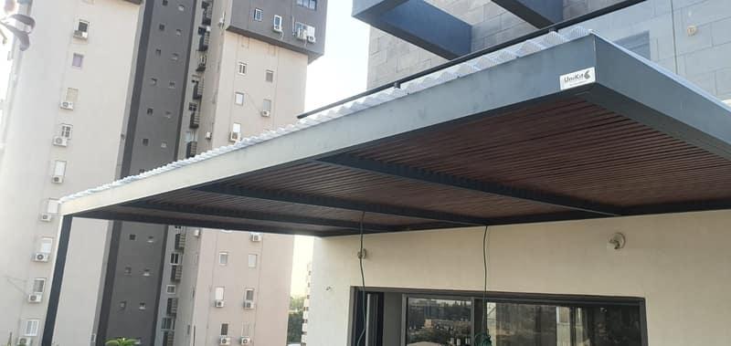 פרגולה אלומיניום בבניין משותף